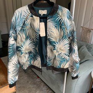 Nicole Miller Palm Leaf Jacquard Bomber Jacket